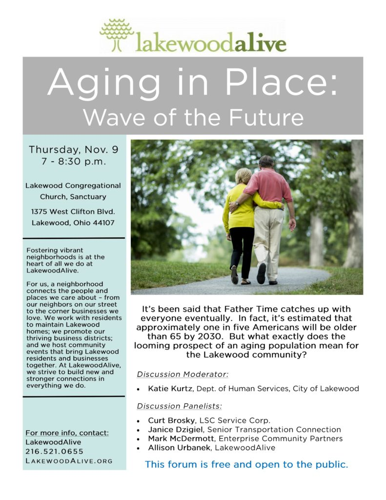 LakewoodAlive Aging In Place Community Forum Flyer