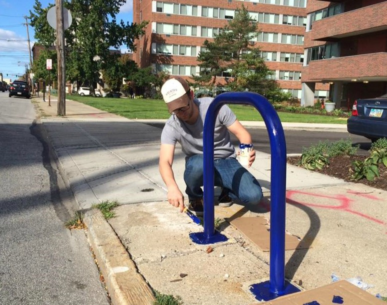 LakewoodAlive paints bike racks