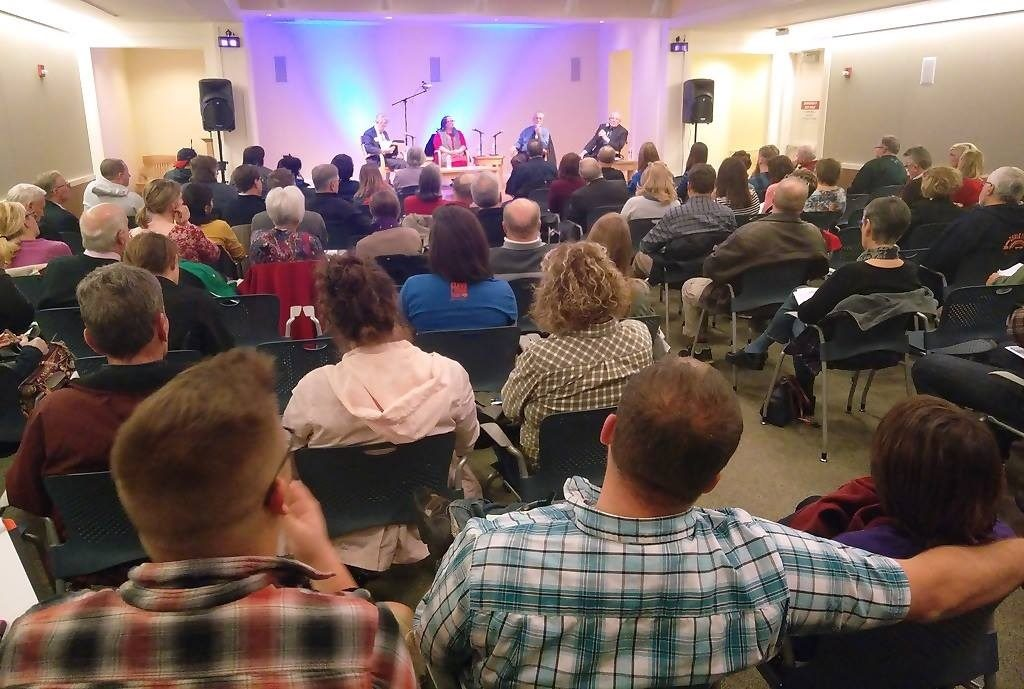 The crowd on Thursday evening filled the conference room at Lakewood Public Library to its capacity.