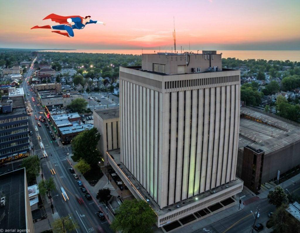 Superhero Flying Over Lakewood