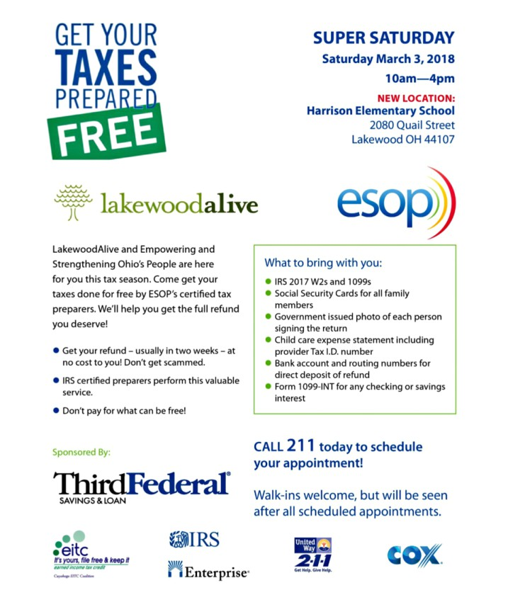 Super Saturday Tax Preparation Flyer