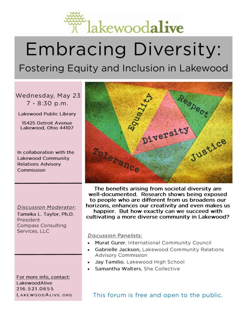 LakewoodAlive Embracing Diversity Community Forum Flyer