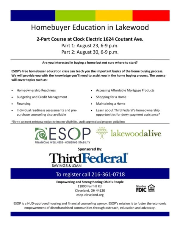 Homebuyer Education Workshop Series Flyer
