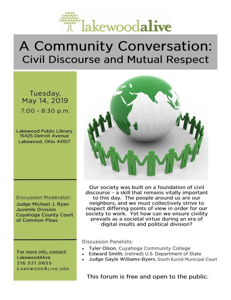 Civil Discourse and Mutual Respect Community Forum Flyer